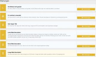 Report einer Webseite bei Suchmaschinenoptimierung mit Sistrix